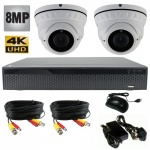 8Mp Security Camera Kit with 2 x 40m Night Vision Cameras & Dvr